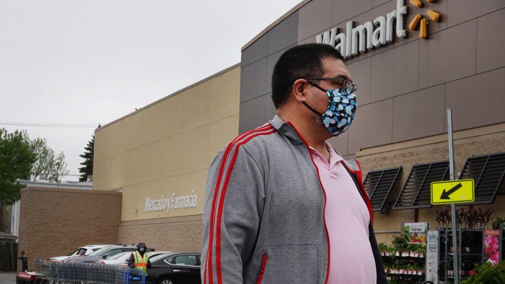 Walmart customer wearing face mask