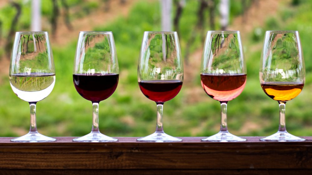 Glasses of wine in different styles