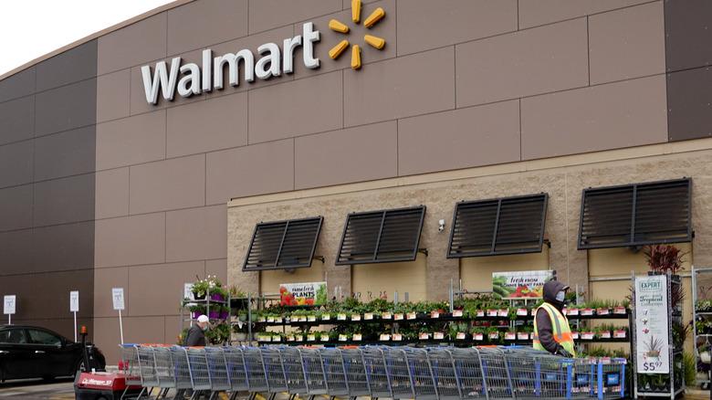 Walmart store and shopping carts