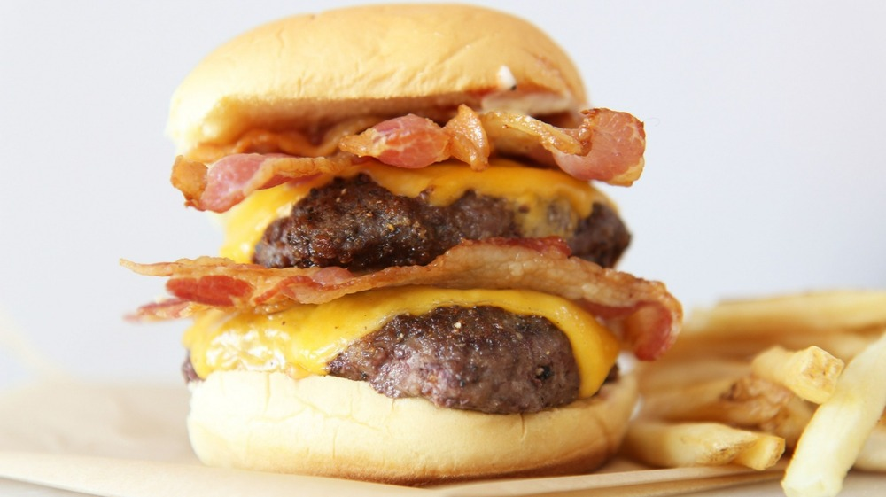 Wendy's Baconator Copycat burger served with fries