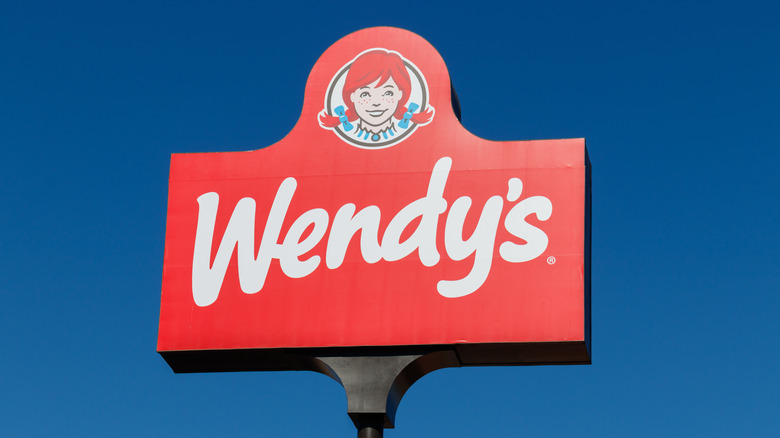 Wendy's sign against the sky