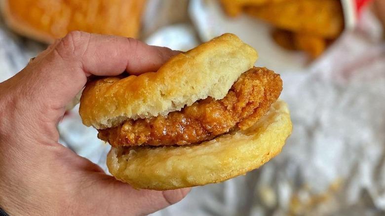 Wendy's honey butter chicken biscuit sandwich