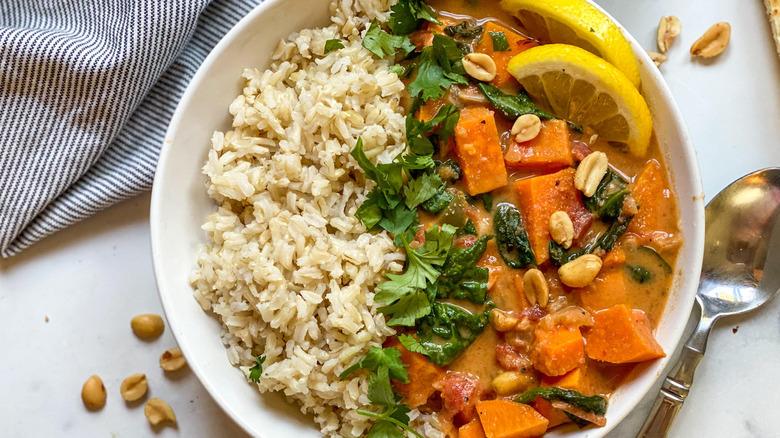West African Peanut Stew Recipe in a bowl