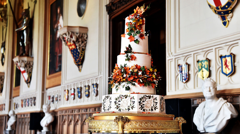 English wedding cake on tray