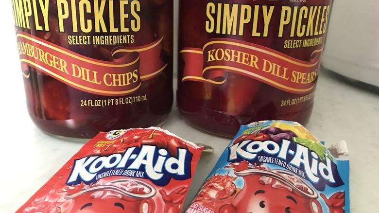 Kool-Aid Pickles next to Kool-Aid packets
