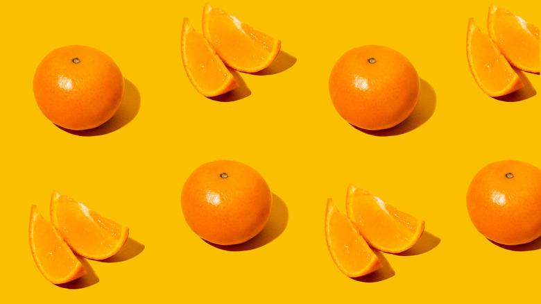 Whole and sliced mandarins