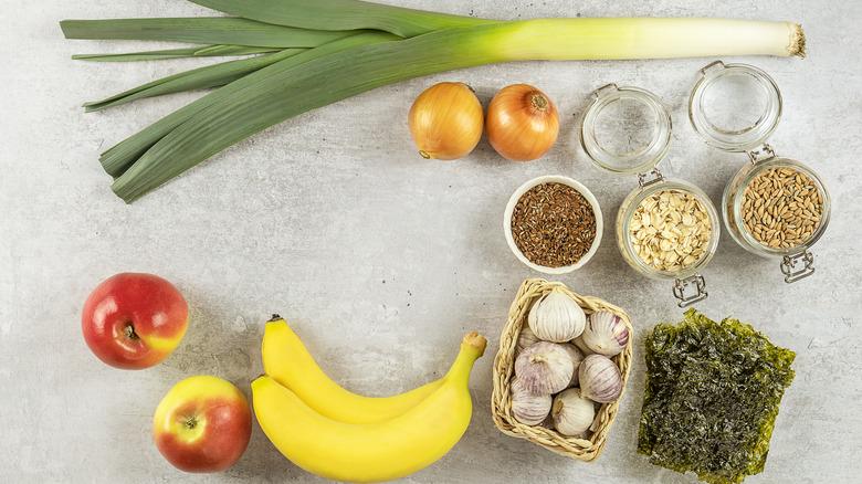 Prebiotic foods on table