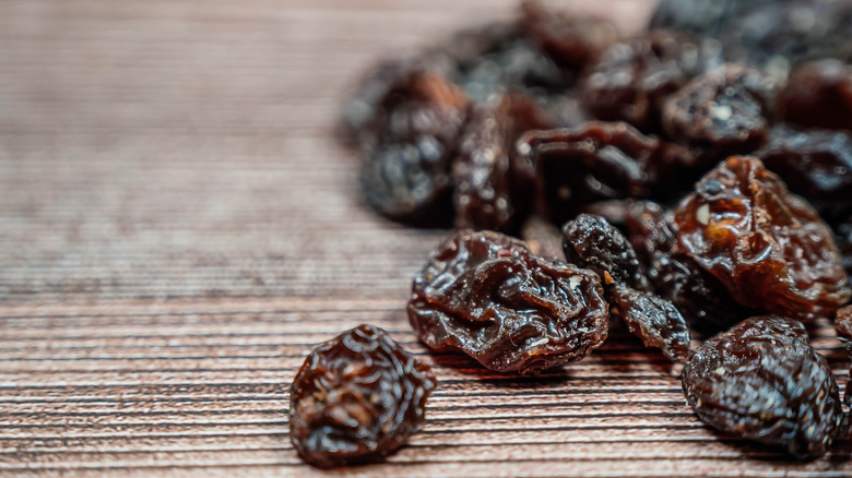 Raisins on table