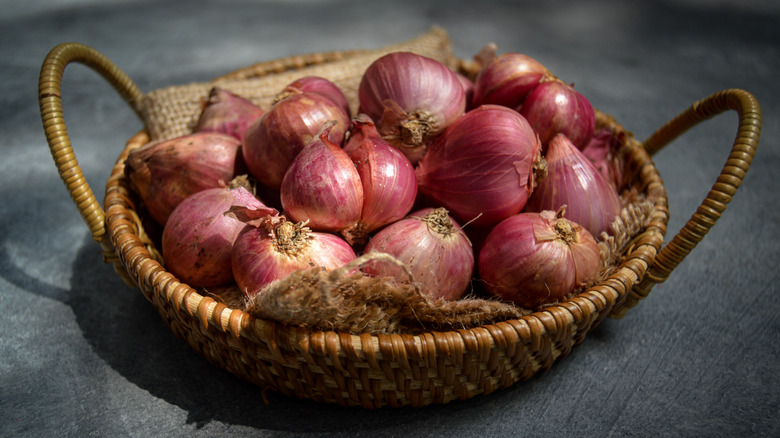 Shallots in basket