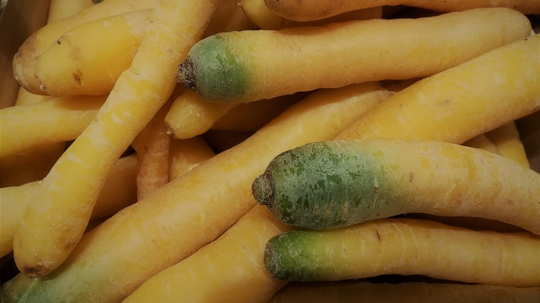 A pile of raw yellow carrots