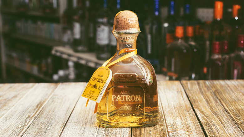 Bottle of Patron tequila on table