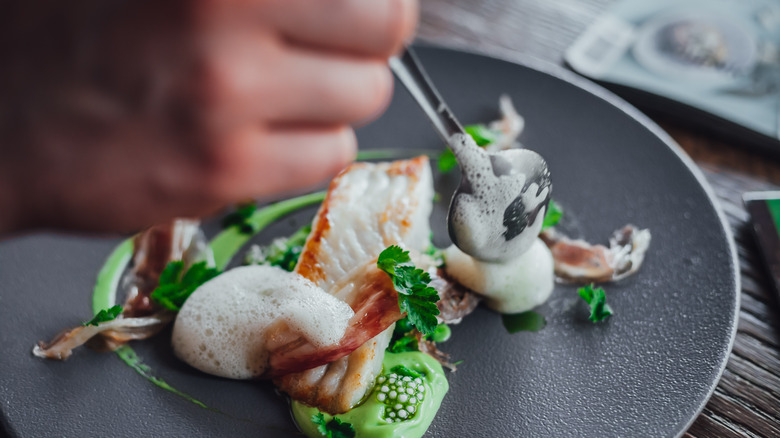 Plating at a Michelin star restaurant