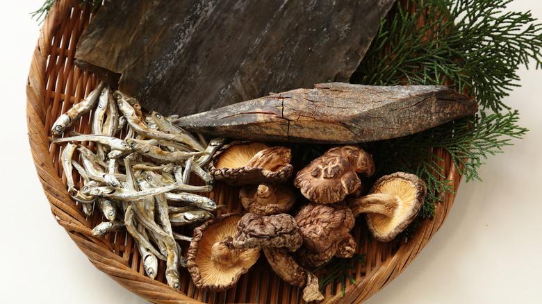 umami foods in wicker basket