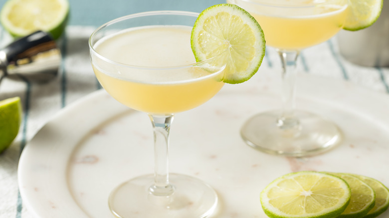 Gimlet with lime wheel