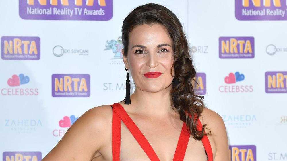 Sophie Faldo in a red dress