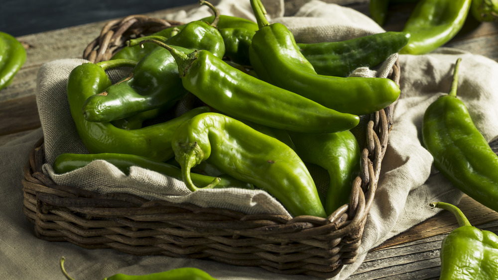 Hatch green chiles in a basket