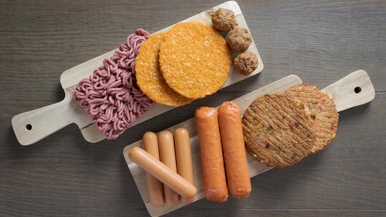 Vegan beef and vegan sausages