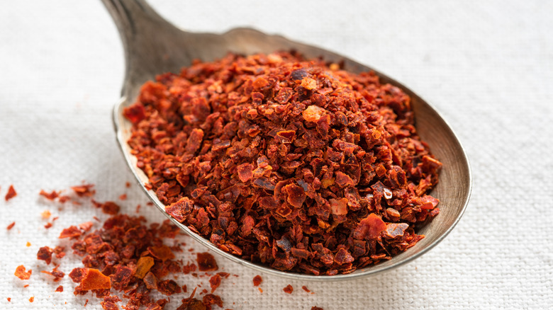 Aleppo pepper flakes on wooden spoon