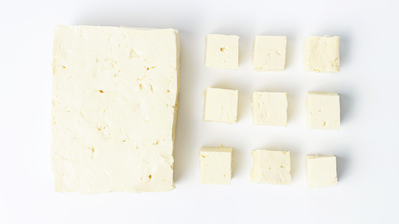 bean curd on white background