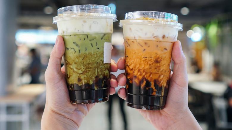Image of two iced boba teas
