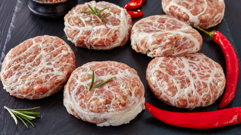 Crepinettes wrapped in caul fat