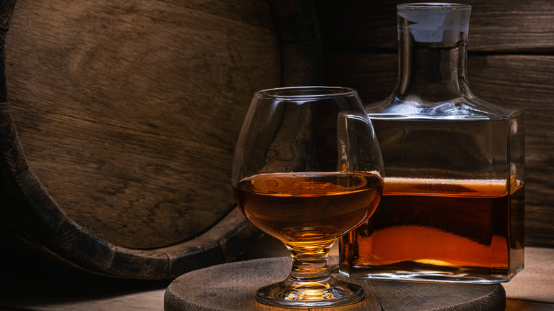 Snifter and bottle of cognac