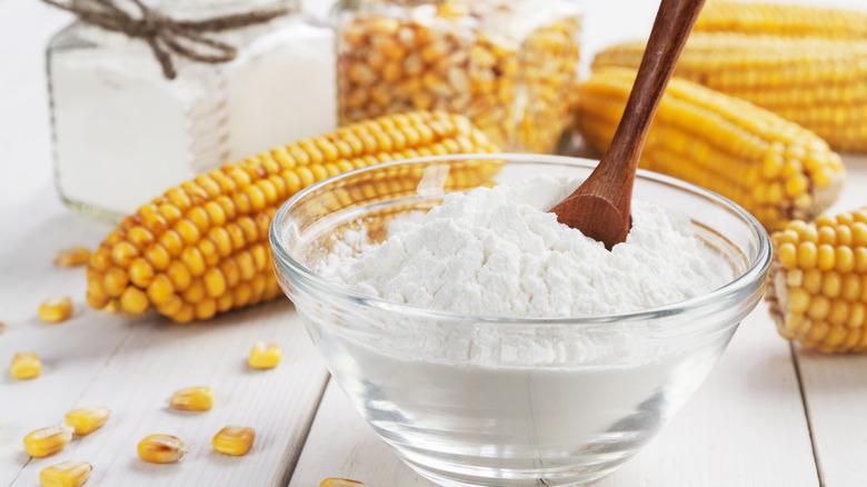 cornstarch in a glass bowl