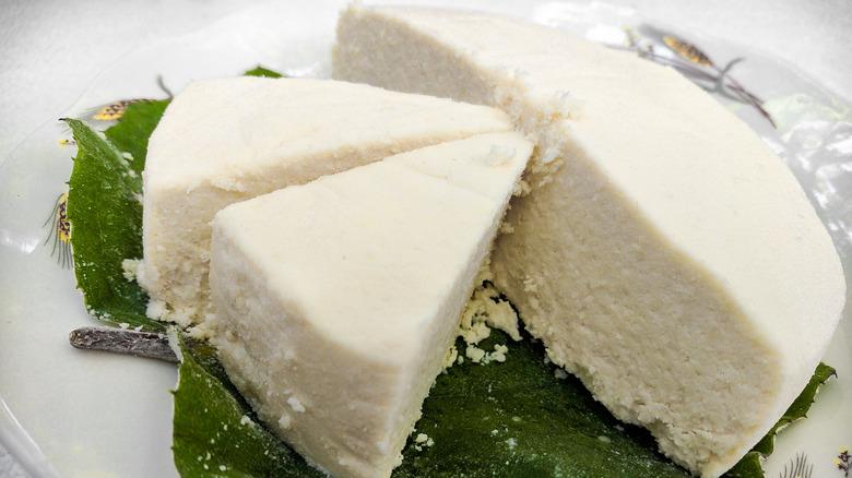 Block of sliced Cotija cheese