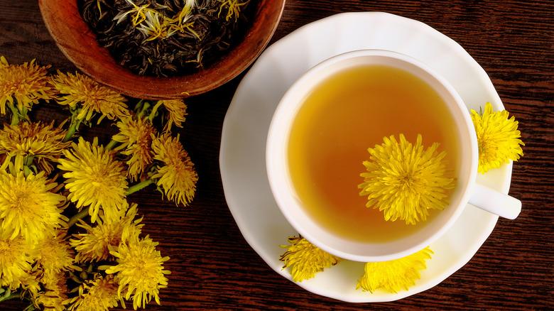 Dandelion tea in white teacup
