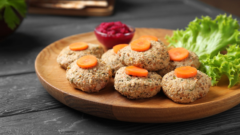 Gefilte fish on a plate