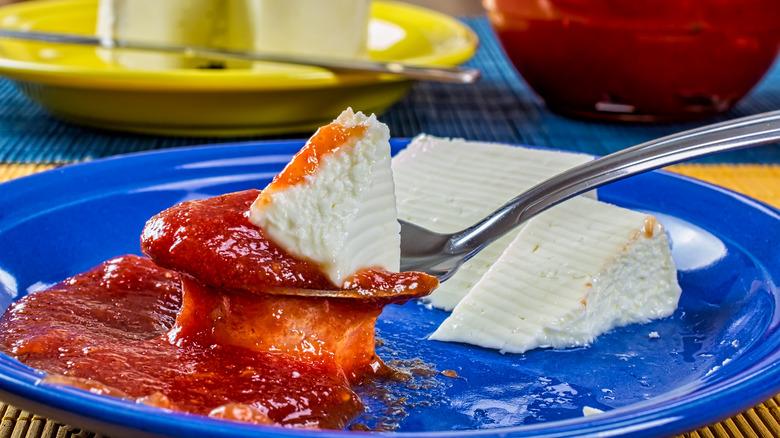 goiabada with cheese on spoon
