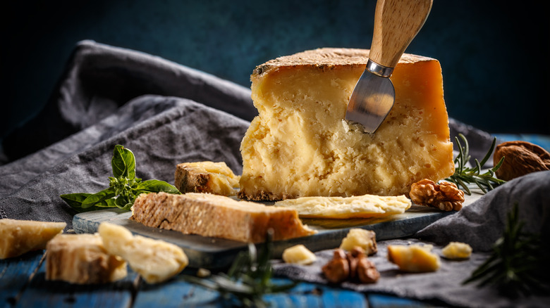 sliced grana padano cheese board