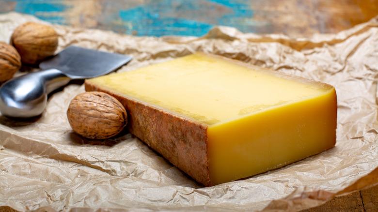 Gruyère cheese wedge