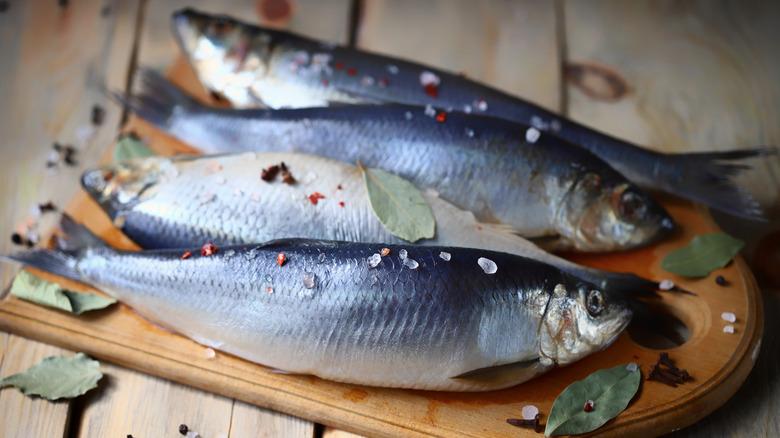 Raw herring on board