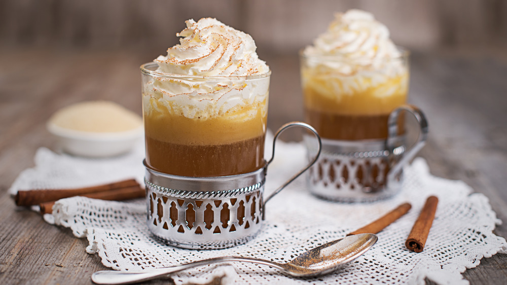 hot buttered rum with whipped cream