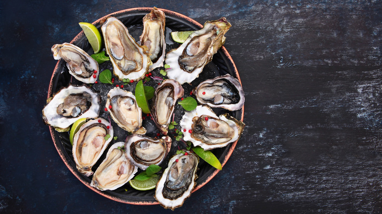 Plate of oysters on the half shell with limes