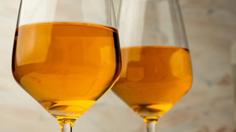 Glasses of orange wine