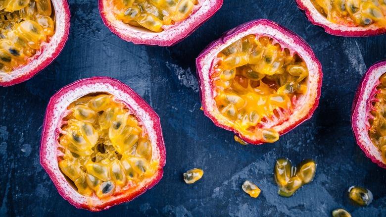 cut passionfruit  on blue background