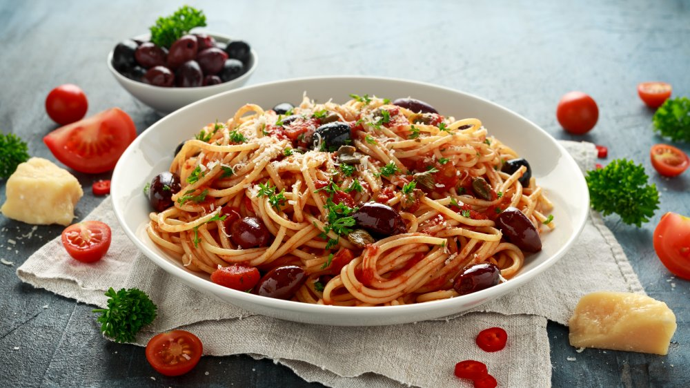 Pasta Puttanesca in a bowl