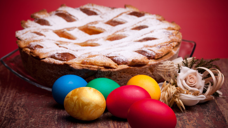 pastiera di grano and Easter eggs