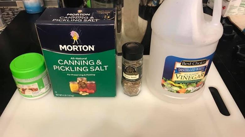 Pickling salt, dill seed, vinegar