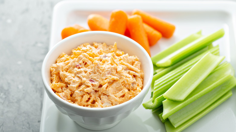 Pimento cheese dip with vegetable crudites