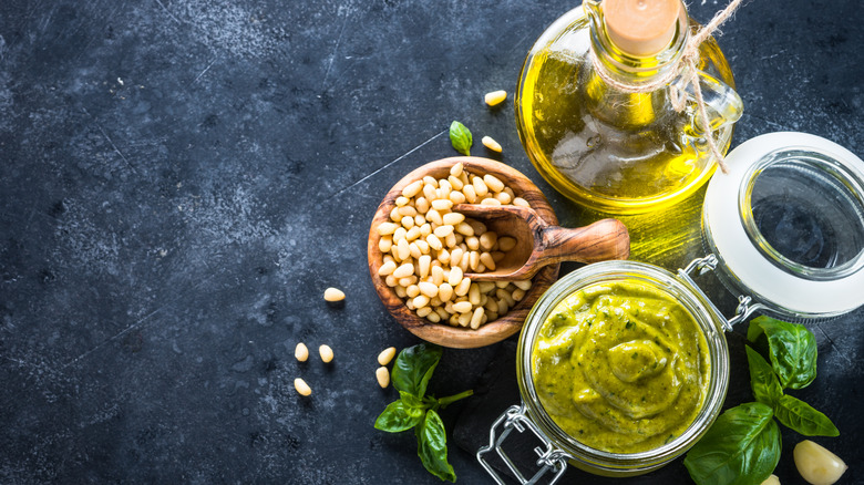 Pine nuts and other pesto ingredients