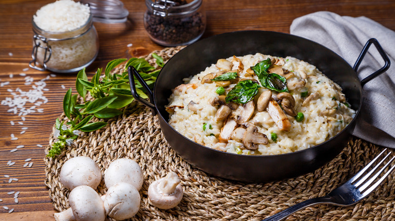 Mushroom risotto on a woven placemat