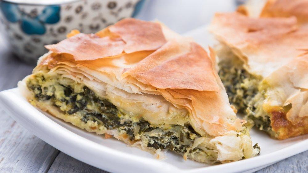 slices of spanakopita