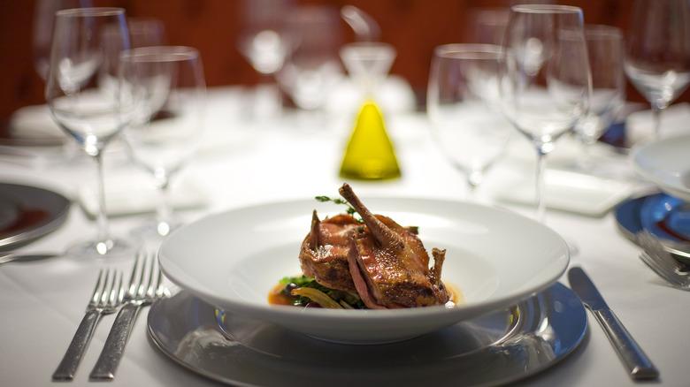 fine dining squab dish