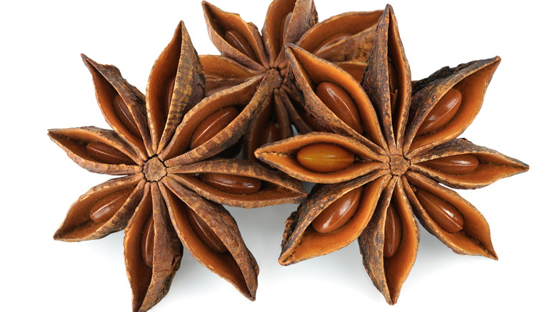 Star anise pods and seeds