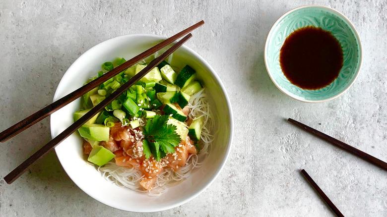 Poke bowl with tamari sauce