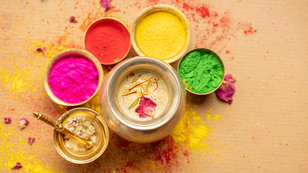 Thandai and various holi colors