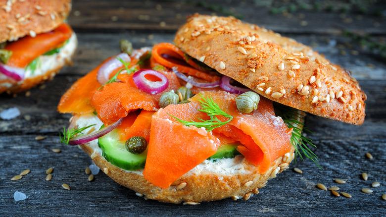 Carrot lox on a bagel